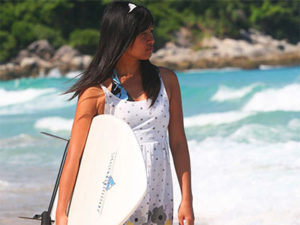 Surfer girl Karon Beach Phuket International Student Exchange