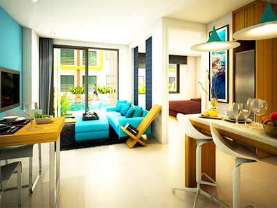 Ratchaporn Condo Living Room - Education Abroad Asia Housing - Study in Phuket